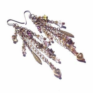 Gypsy Glam Jewel Chain Fringe Duster Earrings Boho